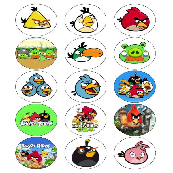 ANGRY BIRDS PARTY EDIBLE CUPCAKE TOPPERS